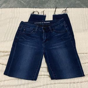 Articles of society dark indigo raw hem jeans